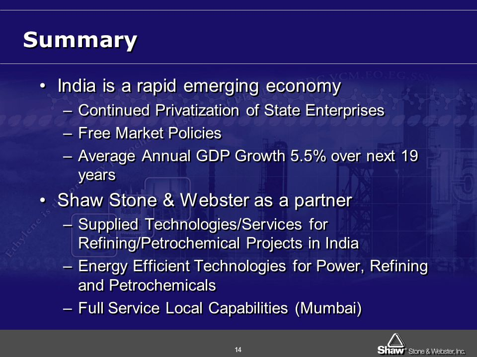 14 Summary India is a rapid emerging economy –Continued Privatization of State Enterprises –Free Market Policies –Average Annual GDP Growth 5.5% over next 19 years Shaw Stone & Webster as a partner –Supplied Technologies/Services for Refining/Petrochemical Projects in India –Energy Efficient Technologies for Power, Refining and Petrochemicals –Full Service Local Capabilities (Mumbai) India is a rapid emerging economy –Continued Privatization of State Enterprises –Free Market Policies –Average Annual GDP Growth 5.5% over next 19 years Shaw Stone & Webster as a partner –Supplied Technologies/Services for Refining/Petrochemical Projects in India –Energy Efficient Technologies for Power, Refining and Petrochemicals –Full Service Local Capabilities (Mumbai)