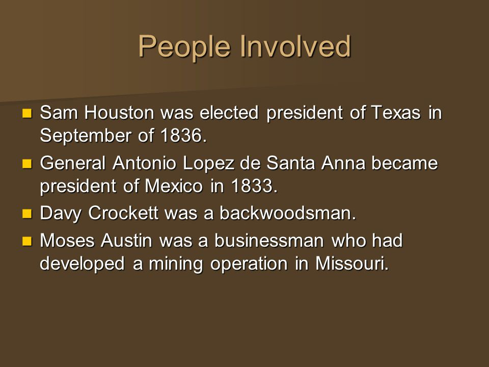 People Involved Sam Houston was elected president of Texas in September of 1836.