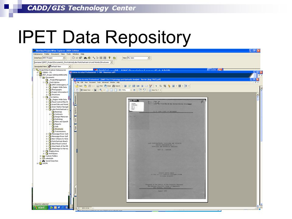 CADD/GIS Technology Center IPET Data Repository