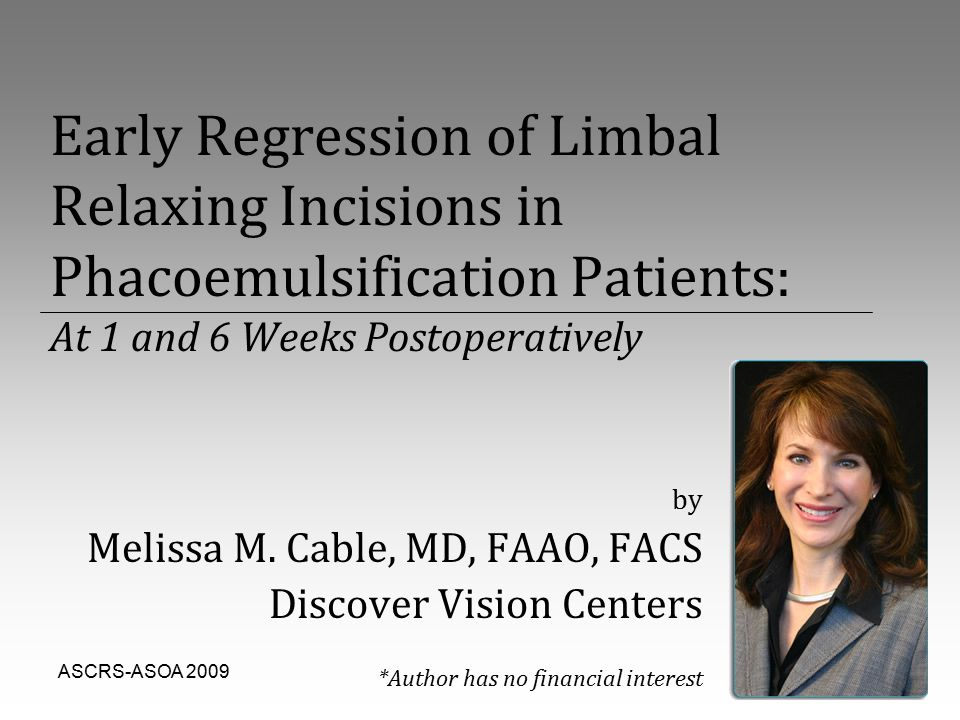 ASCRS-ASOA 20091 Early Regression of Limbal Relaxing Incisions in Phacoemulsification Patients: At 1 and 6 Weeks Postoperatively by Melissa M. Cable,