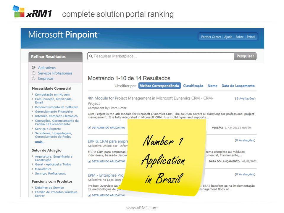 www.xRM1.com complete solution portal ranking Number 1 Application in Brazil