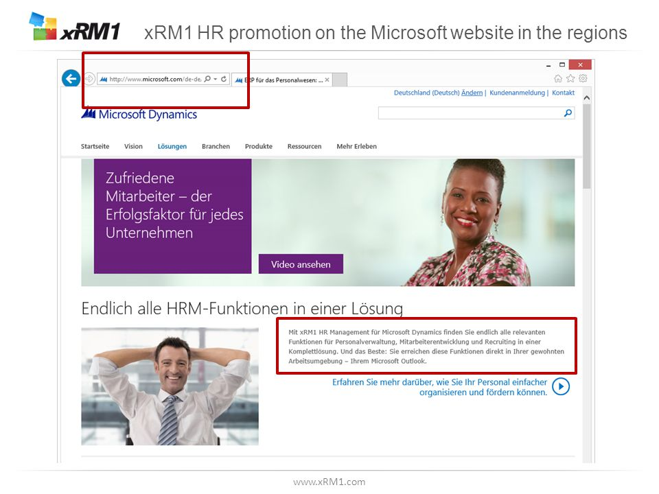 www.xRM1.com xRM1 HR promotion on the Microsoft website in the regions