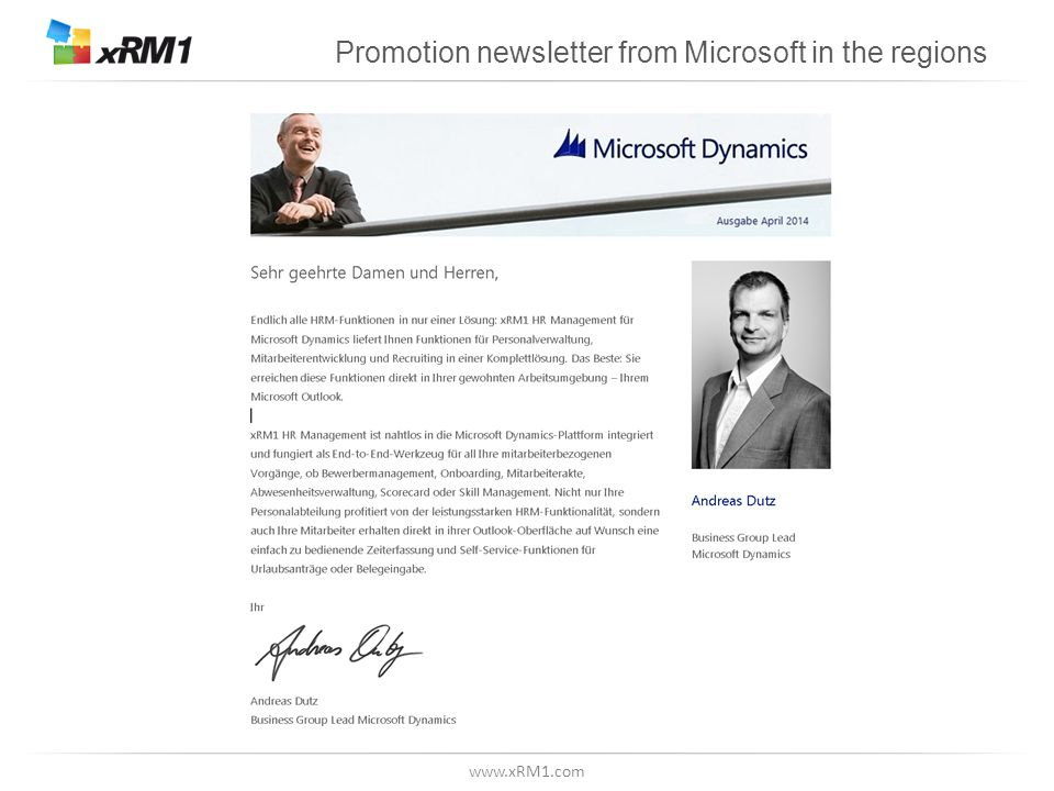 www.xRM1.com Promotion newsletter from Microsoft in the regions