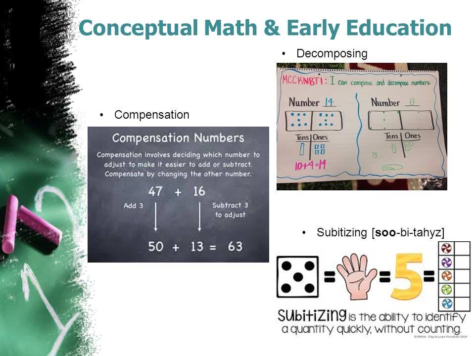 Conceptual Math & Early Education Decomposing Compensation Subitizing [soo-bi-tahyz]