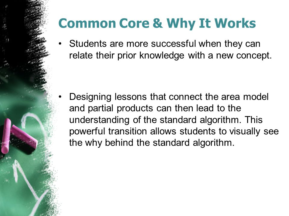 Common Core & Why It Works Students are more successful when they can relate their prior knowledge with a new concept. Designing lessons that connect