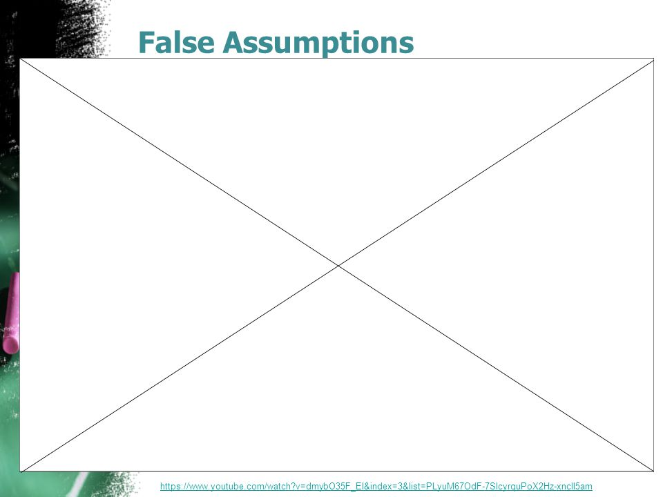 False Assumptions https://www.youtube.com/watch?v=dmybO35F_EI&index=3&list=PLyuM67OdF-7SlcyrquPoX2Hz-xnclI5am