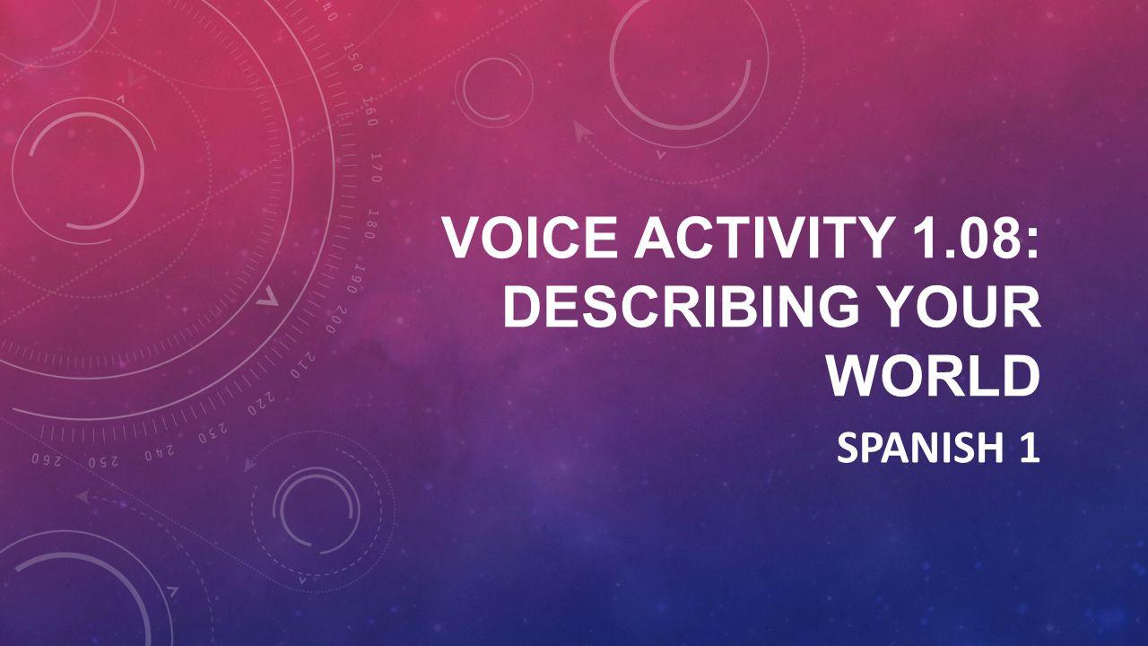 VOICE ACTIVITY 1.08: DESCRIBING YOUR WORLD SPANISH 1