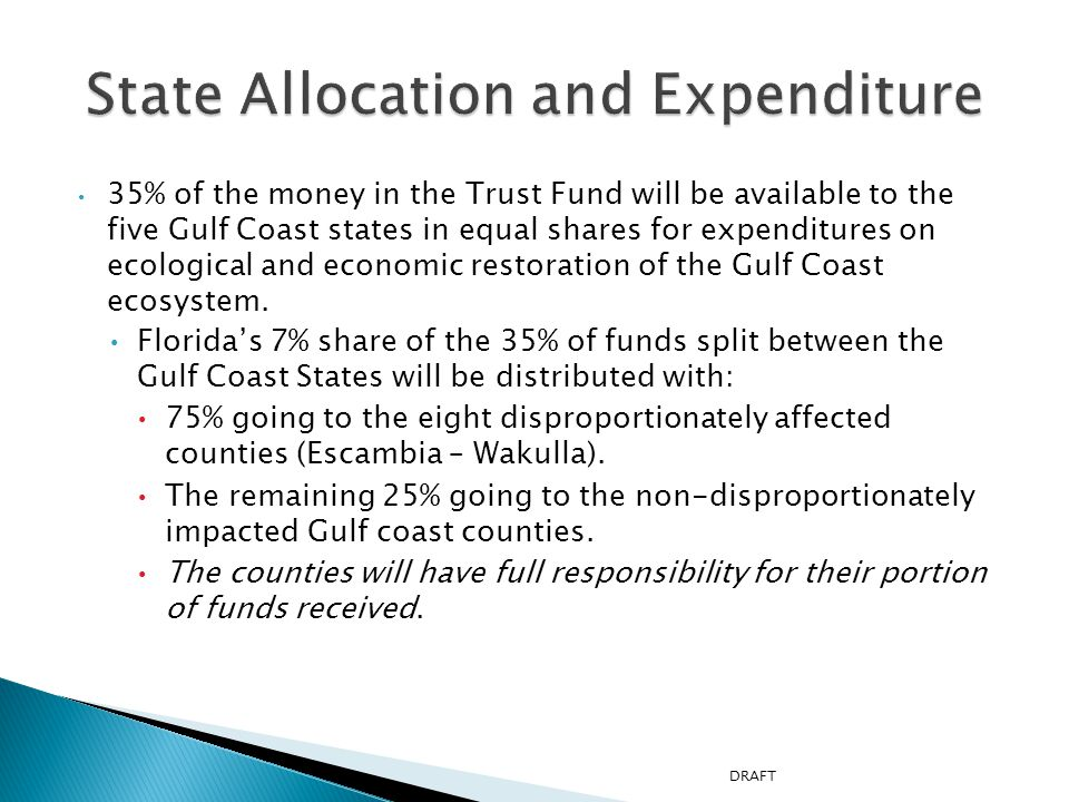 35% of the money in the Trust Fund will be available to the five Gulf Coast states in equal shares for expenditures on ecological and economic restoration of the Gulf Coast ecosystem.