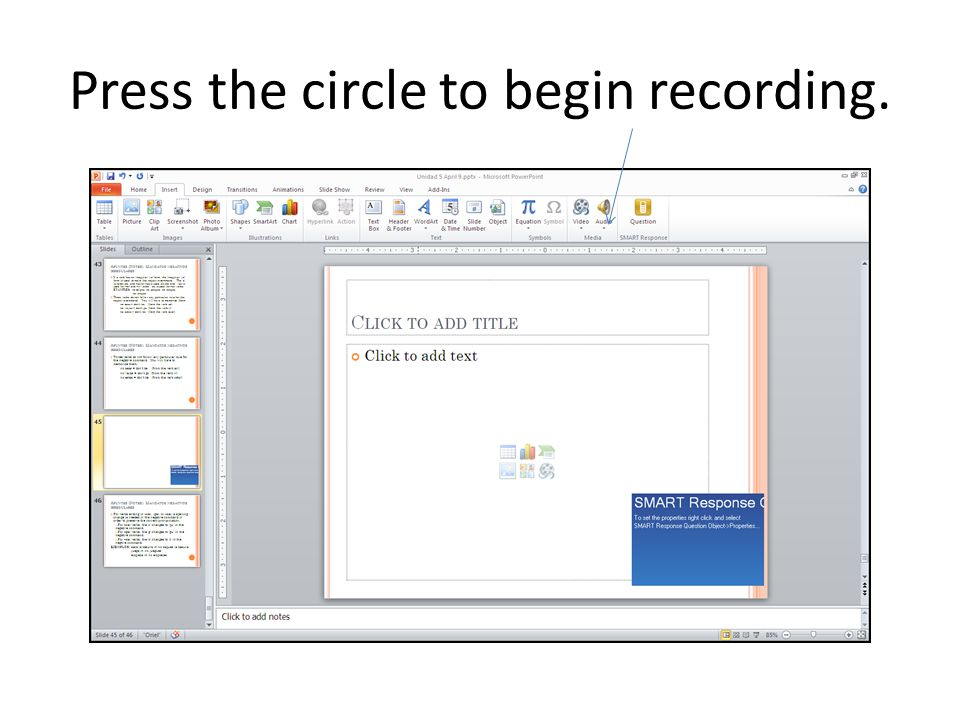 After clicking the arrow, click Record Audio