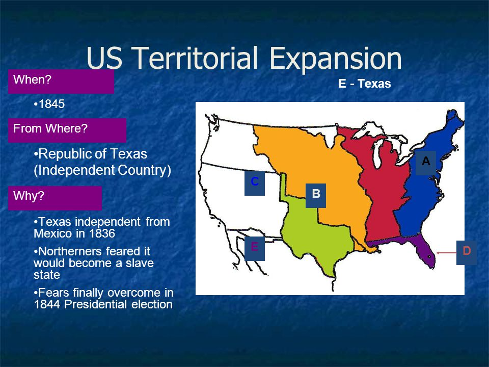 US Territorial Expansion A When? From Where? Why? 1845 Republic of Texas (Independent Country) Texas independent from Mexico in 1836 Northerners feare