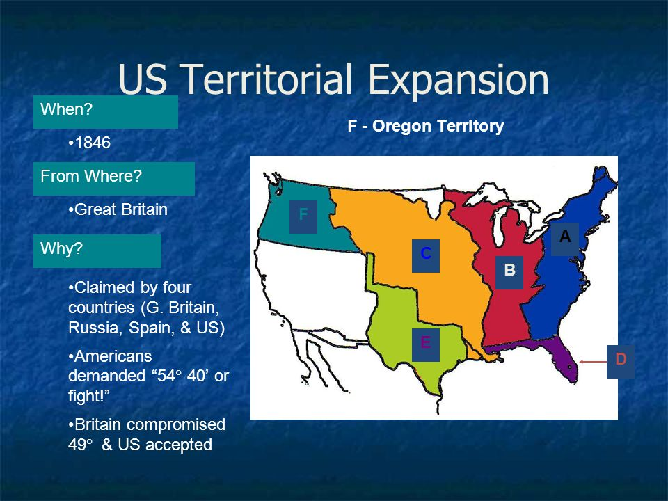 """US Territorial Expansion A When? From Where? Why? 1846 Great Britain Claimed by four countries (G. Britain, Russia, Spain, & US) Americans demanded """"5"""