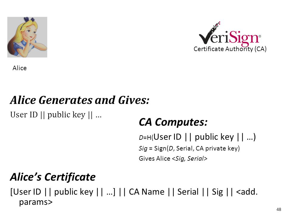 Alice Alice Generates and Gives: User ID || public key || … Certificate Authority (CA) CA Computes: D=H( User ID || public key || …) Sig = Sign(D, Serial, CA private key) Gives Alice Alice's Certificate [User ID || public key || …] || CA Name || Serial || Sig || 48