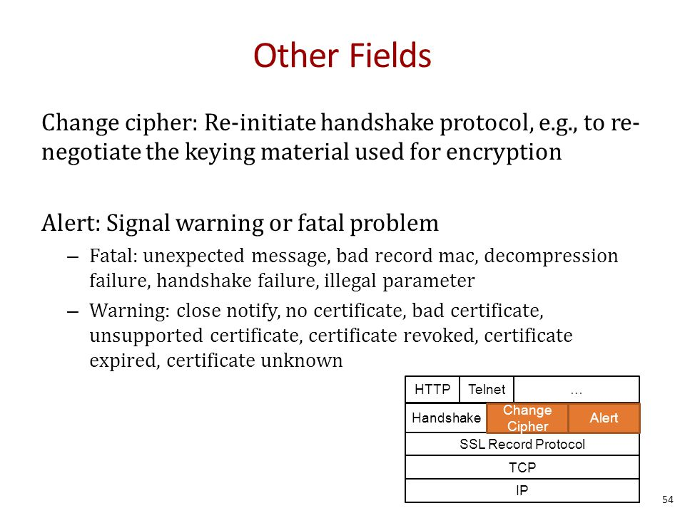 Other Fields Change cipher: Re-initiate handshake protocol, e.g., to re- negotiate the keying material used for encryption Alert: Signal warning or fatal problem – Fatal: unexpected message, bad record mac, decompression failure, handshake failure, illegal parameter – Warning: close notify, no certificate, bad certificate, unsupported certificate, certificate revoked, certificate expired, certificate unknown Telnet… IP TCP SSL Record Protocol Handshake Change Cipher Alert HTTP 54