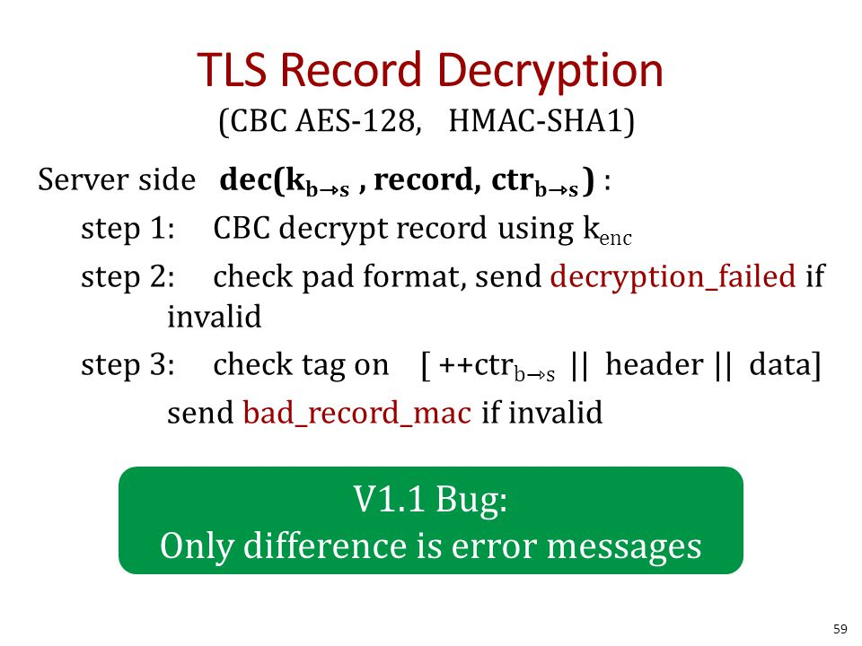 TLS Record Decryption 59 (CBC AES-128, HMAC-SHA1) Server side dec(k bs, record, ctr bs ) : step 1: CBC decrypt record using k enc step 2: check pad format, send decryption_failed if invalid step 3: check tag on [ ++ctr b⇾s || header || data] send bad_record_mac if invalid V1.1 Bug: Only difference is error messages