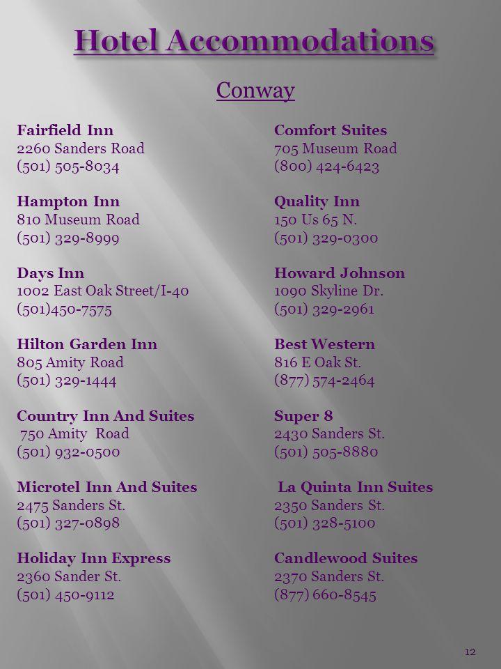 Conway Fairfield InnComfort Suites 2260 Sanders Road705 Museum Road (501) 505-8034(800) 424-6423 Hampton Inn Quality Inn 810 Museum Road150 Us 65 N.
