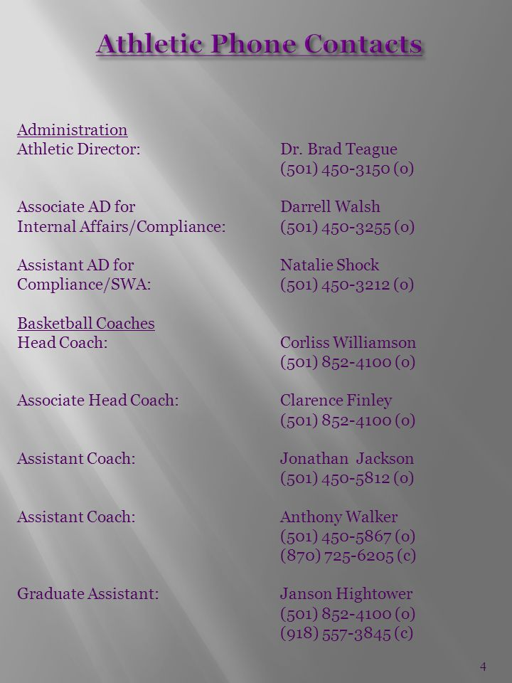 Administration Athletic Director:Dr.