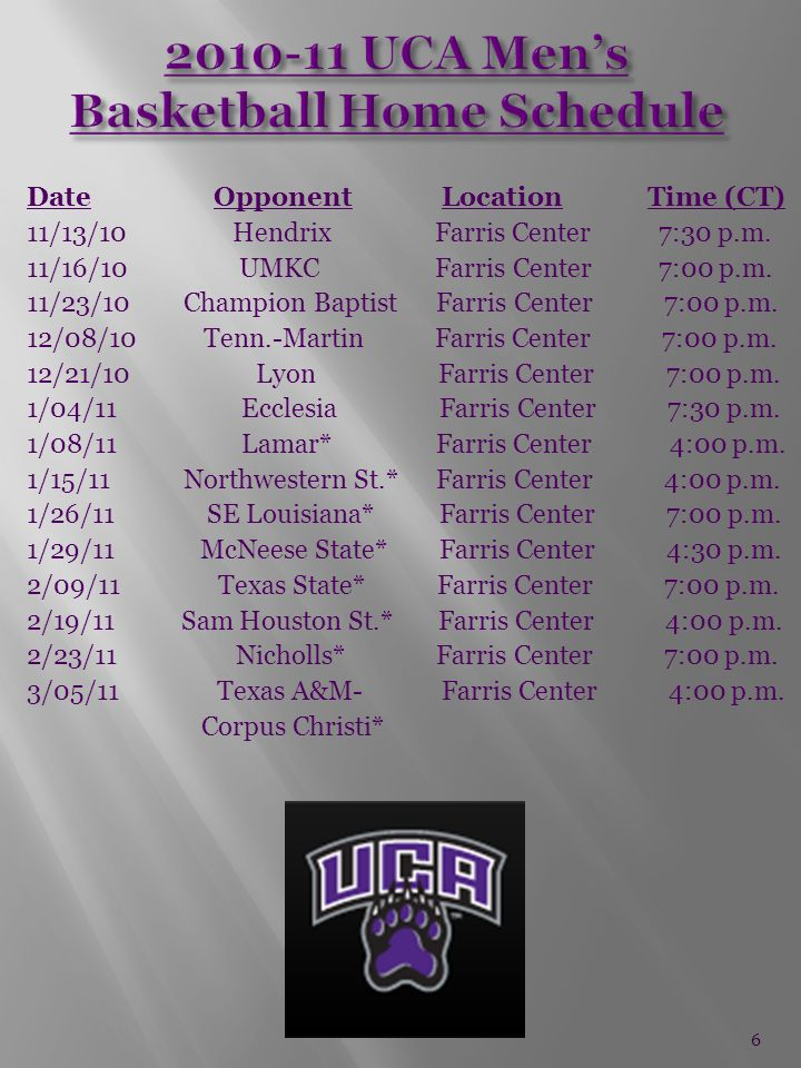 Date Opponent Location Time (CT) 11/13/10 Hendrix Farris Center 7:30 p.m.