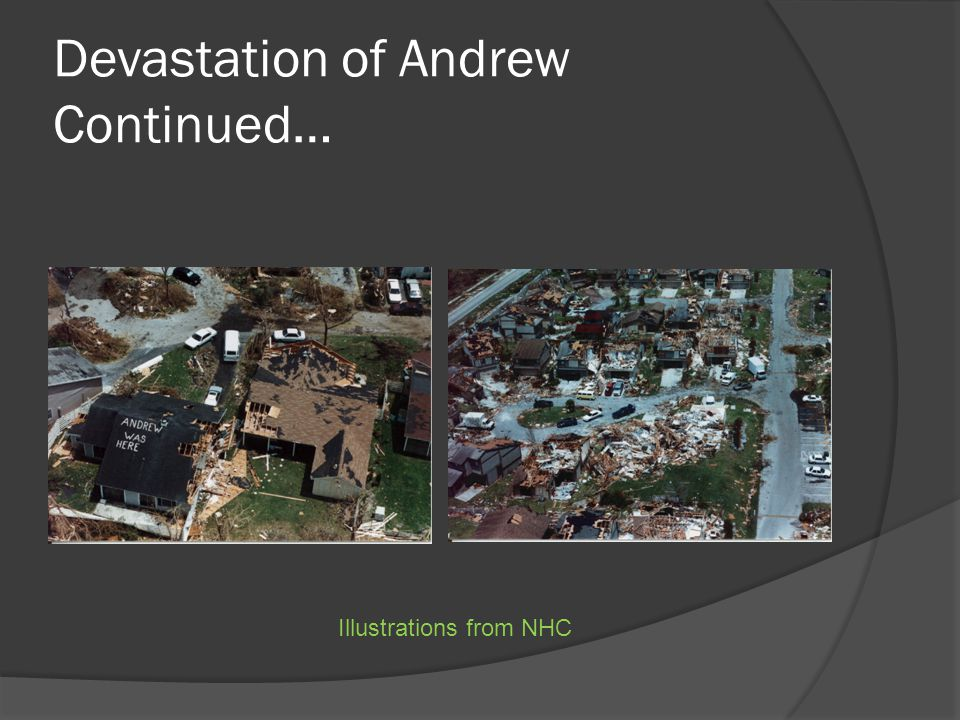 Devastation of Andrew Continued… Illustrations from NHC