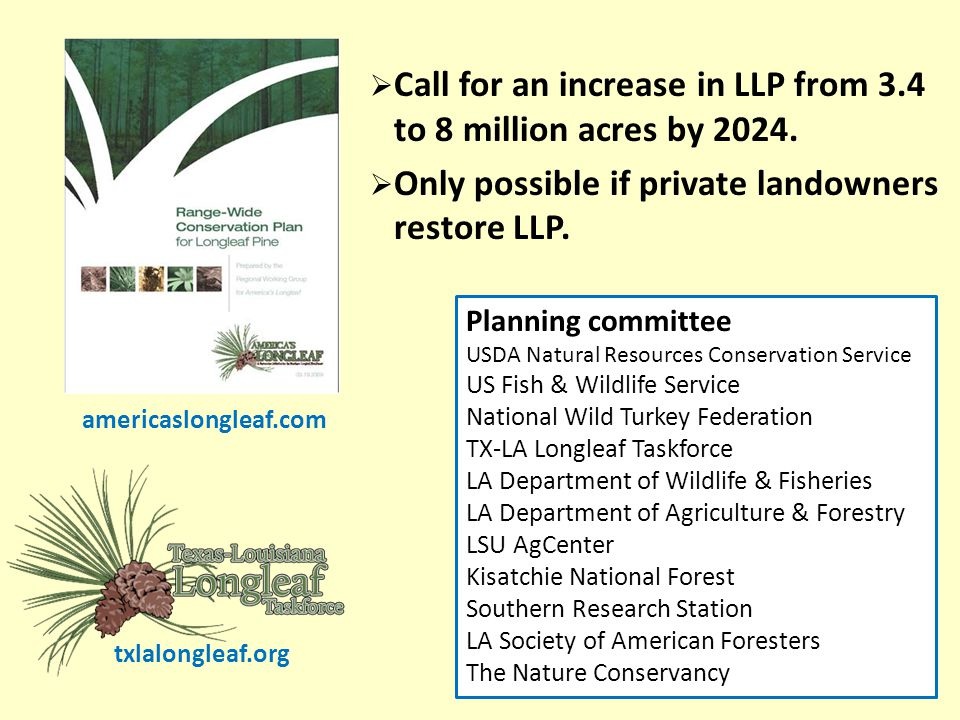  Call for an increase in LLP from 3.4 to 8 million acres by 2024.