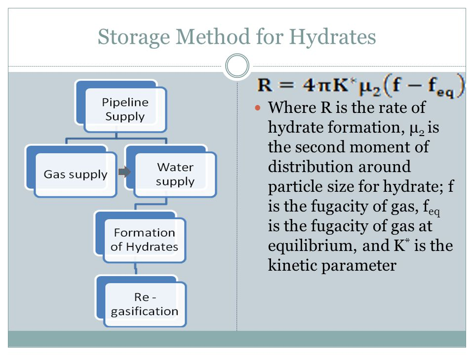 Storage Method for Hydrates Where R is the rate of hydrate formation, μ 2 is the second moment of distribution around particle size for hydrate; f is the fugacity of gas, f eq is the fugacity of gas at equilibrium, and K * is the kinetic parameter