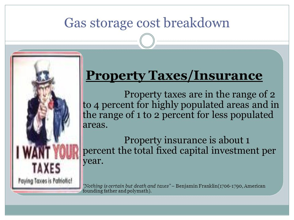Property Taxes/Insurance Property taxes are in the range of 2 to 4 percent for highly populated areas and in the range of 1 to 2 percent for less populated areas.