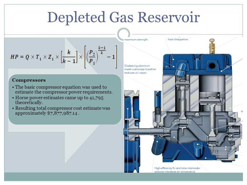 Depleted Gas Reservoir Compressors The basic compressor equation was used to estimate the compressor power requirements. Horse power estimates came up