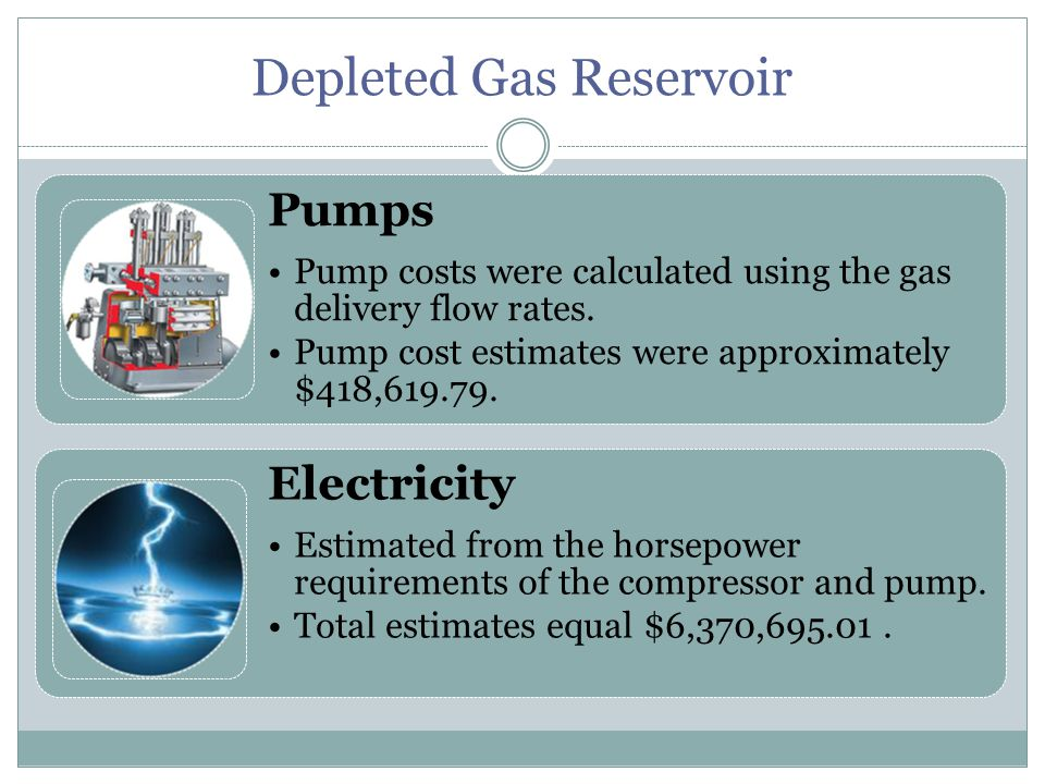 Depleted Gas Reservoir Pumps Pump costs were calculated using the gas delivery flow rates.