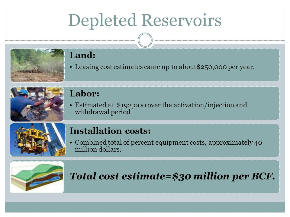 Depleted Reservoirs Land: Leasing cost estimates came up to about$250,000 per year. Labor: Estimated at $192,000 over the activation/injection and wit