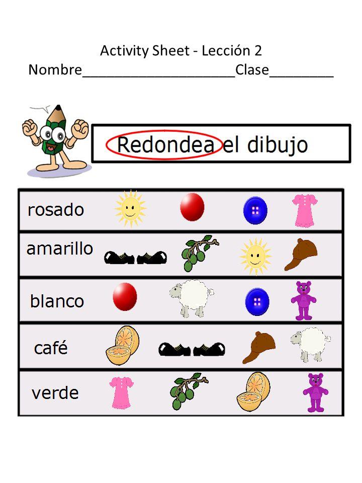 Activity Sheet - Lección 2 Nombre___________________Clase________