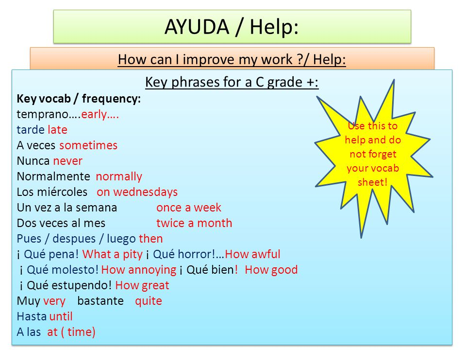 AYUDA / Help: How can I improve my work / Help: Key phrases for a C grade +: Key vocab / frequency: temprano….early….