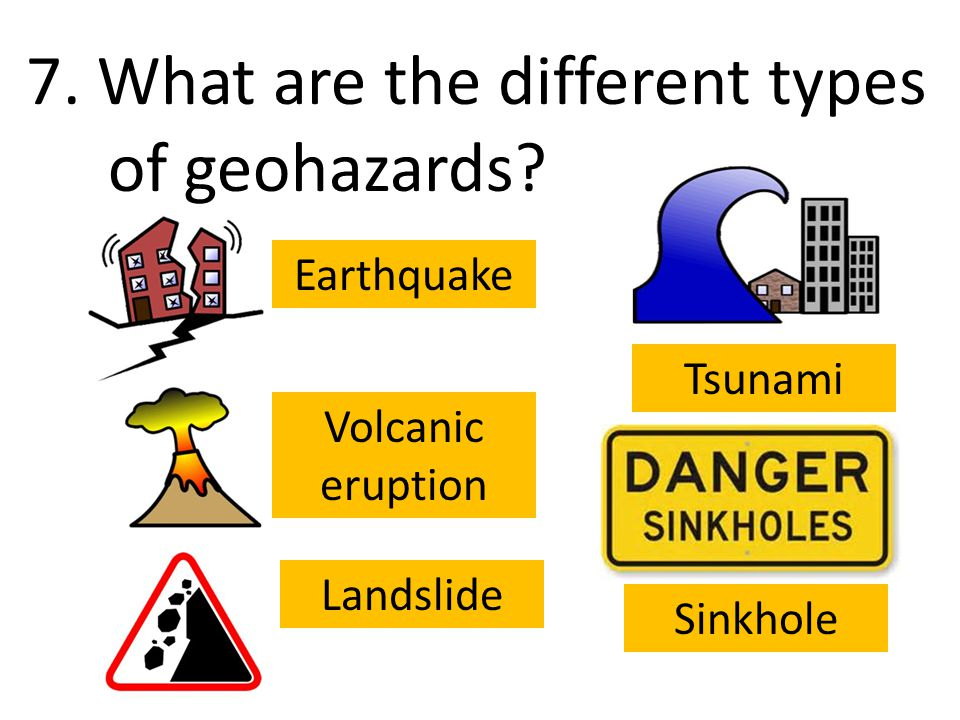 7. What are the different types of geohazards.