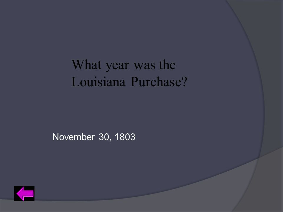 What year was the Louisiana Purchase? November 30, 1803