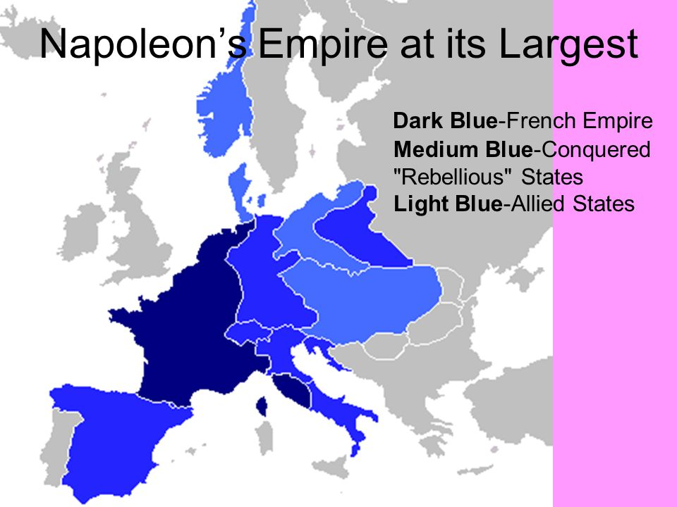 Napoleon's Empire at its Largest Dark Blue-French Empire Medium Blue-Conquered Rebellious States Light Blue-Allied States