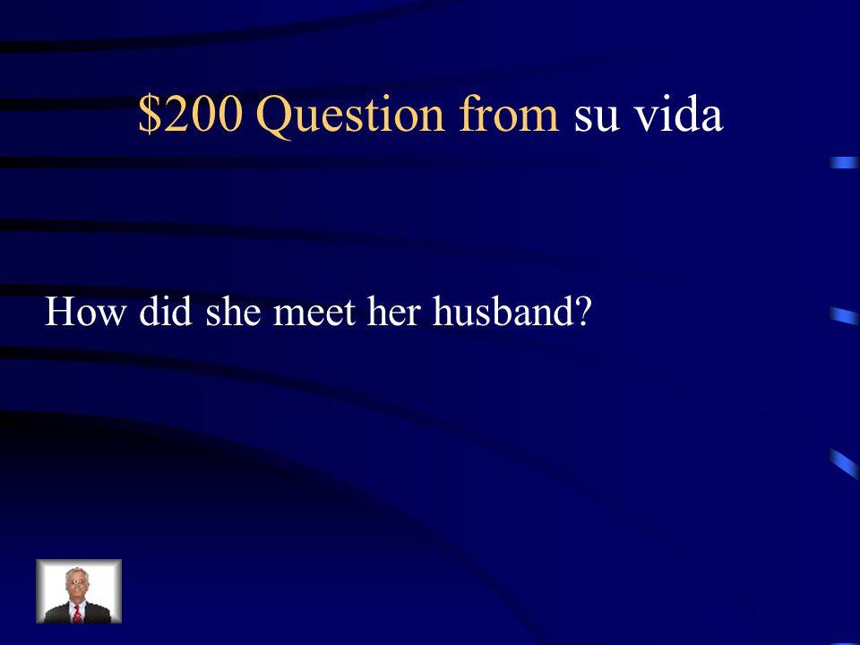 $100 Answer from su vida Caridad