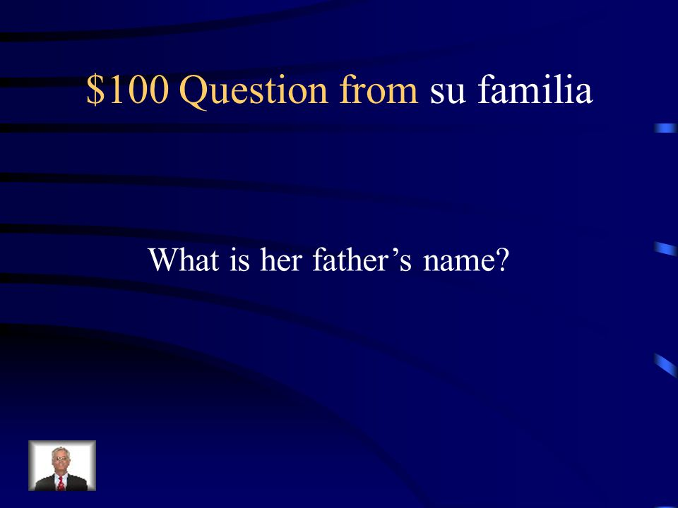 Jeopardy: Celia Cruz Su familiaSu vidaSu carrera Su cosas favoritas Trivia Q $100 Q $200 Q $300 Q $400 Q $500 Q $100 Q $200 Q $300 Q $400 Q $500 Final Jeopardy