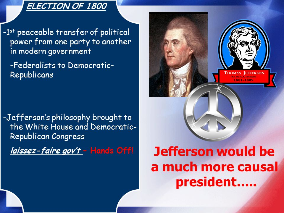 ELECTION OF 1800 -1 st peaceable transfer of political power from one party to another in modern government -Federalists to Democratic- Republicans -J