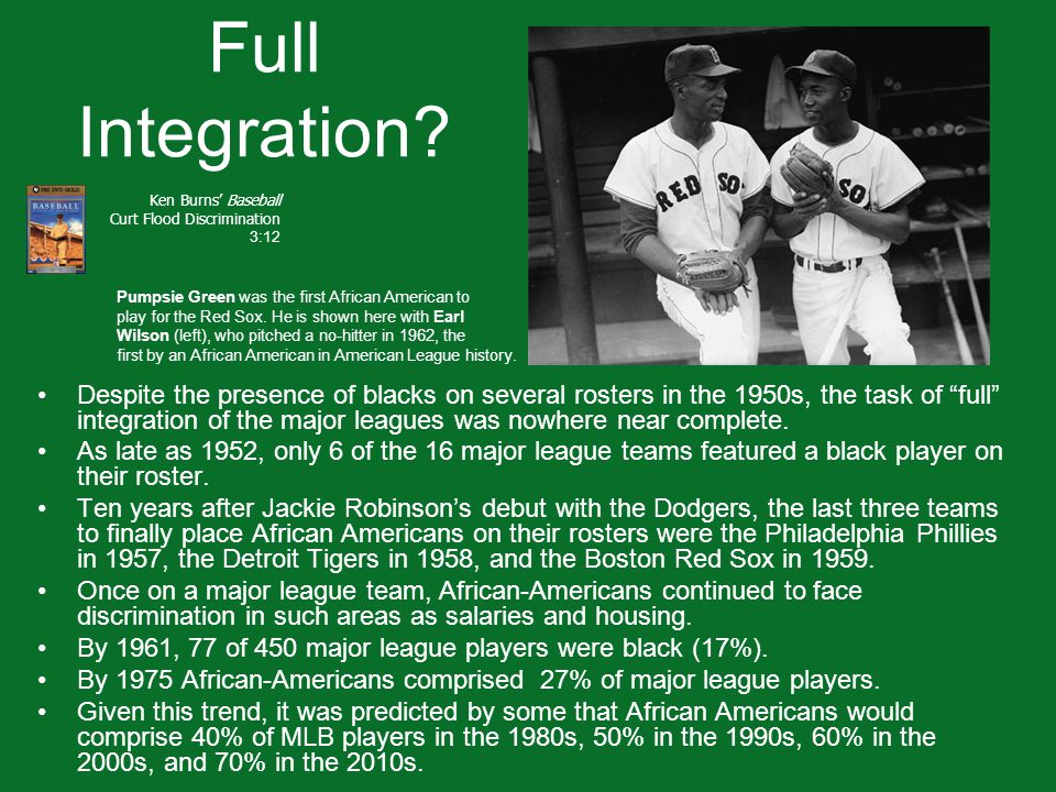 """Full Integration? Despite the presence of blacks on several rosters in the 1950s, the task of """"full"""" integration of the major leagues was nowhere near"""