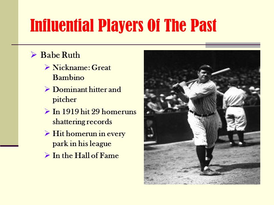 Influential Players Of The Past  Babe Ruth  Nickname: Great Bambino  Dominant hitter and pitcher  In 1919 hit 29 homeruns shattering records  Hit homerun in every park in his league  In the Hall of Fame