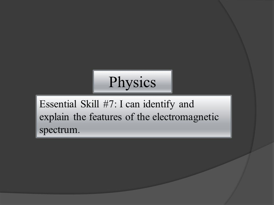 Physics Essential Skill #7: I can identify and explain the features of the electromagnetic spectrum.