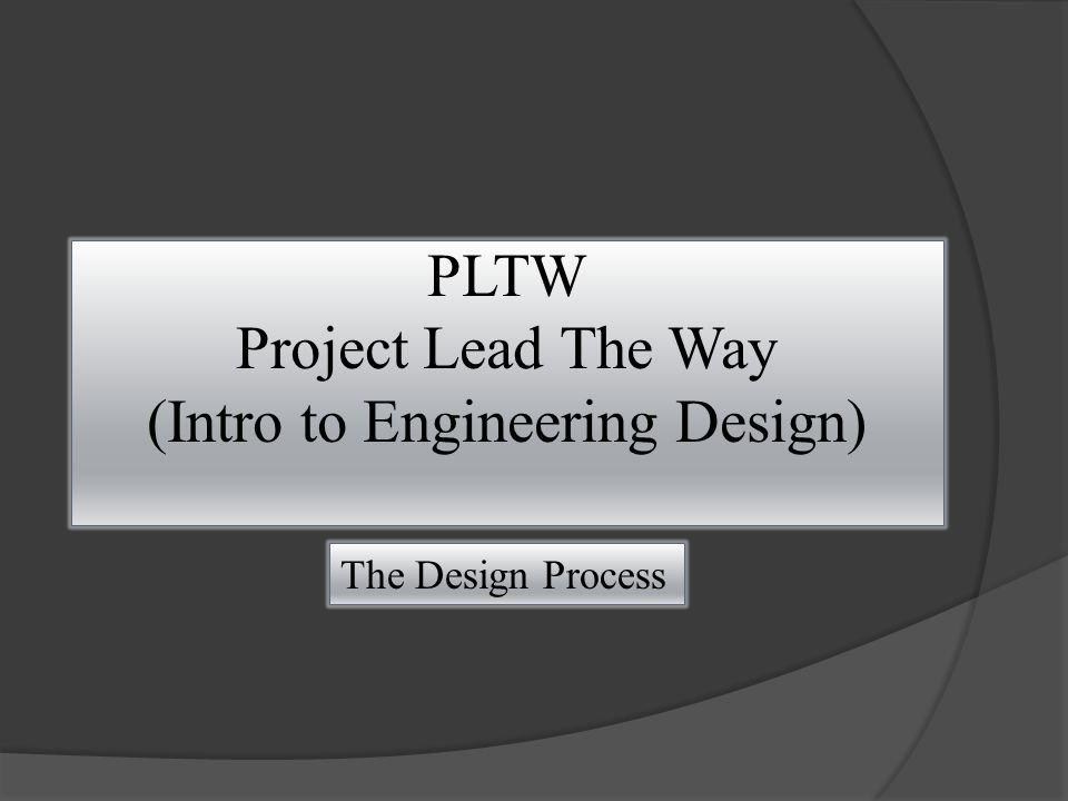 PLTW Project Lead The Way (Intro to Engineering Design) The Design Process