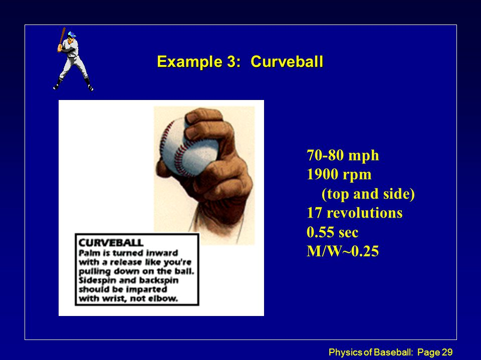 Physics of Baseball: Page 29 Example 3: Curveball 70-80 mph 1900 rpm (top and side) 17 revolutions 0.55 sec M/W~0.25