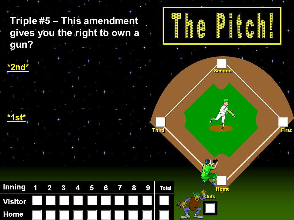 Visitor Home Inning 123456789 Total Home First Third Second Outs Triple #4 – This amendment guarantees you a trial by your peers.