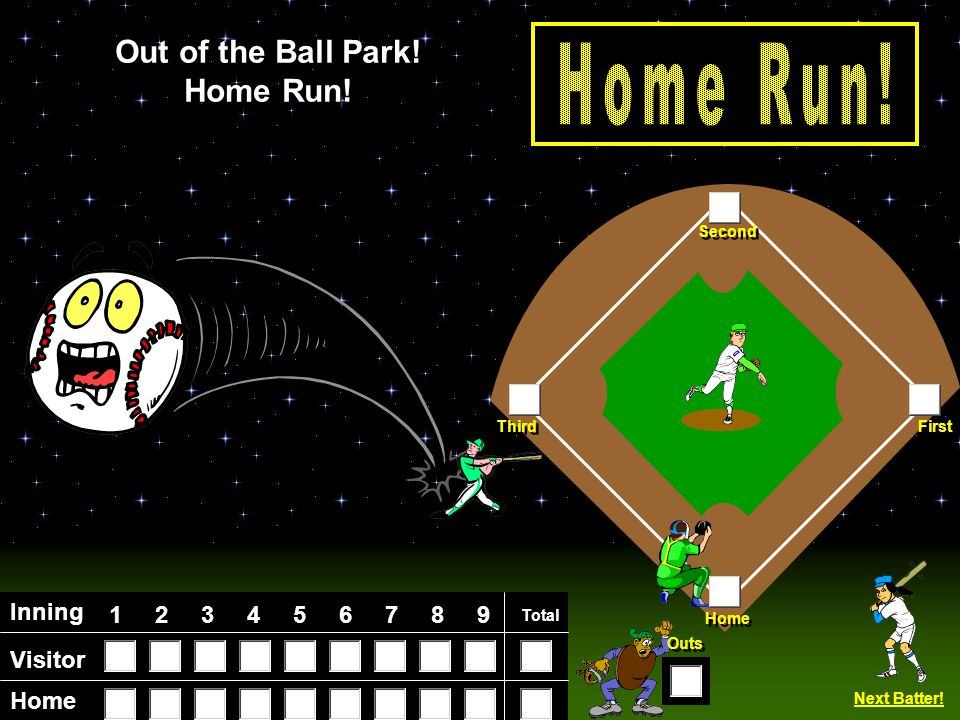 Visitor Home Inning 123456789 Total Home First Third Second Outs Fly Ball.