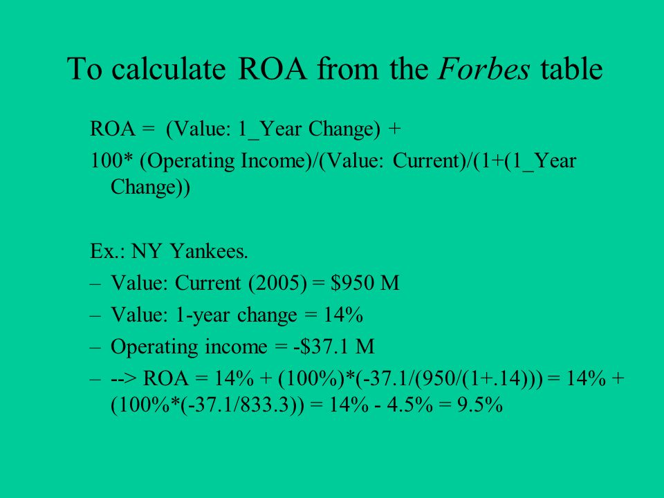 To calculate ROA from the Forbes table ROA = (Value: 1_Year Change) + 100* (Operating Income)/(Value: Current)/(1+(1_Year Change)) Ex.: NY Yankees.