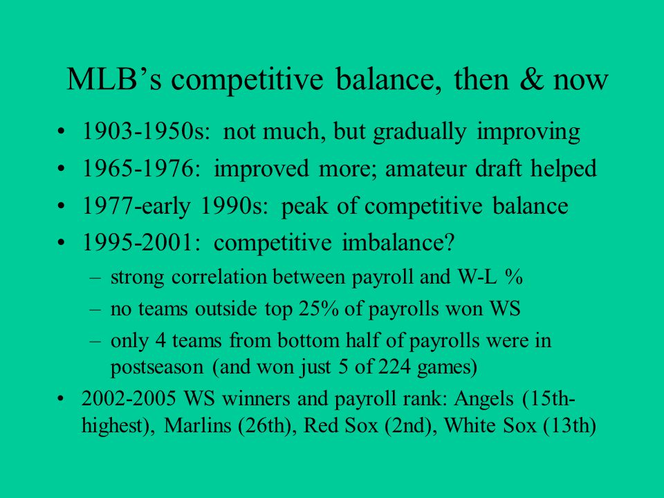 MLB's competitive balance, then & now 1903-1950s: not much, but gradually improving 1965-1976: improved more; amateur draft helped 1977-early 1990s: p