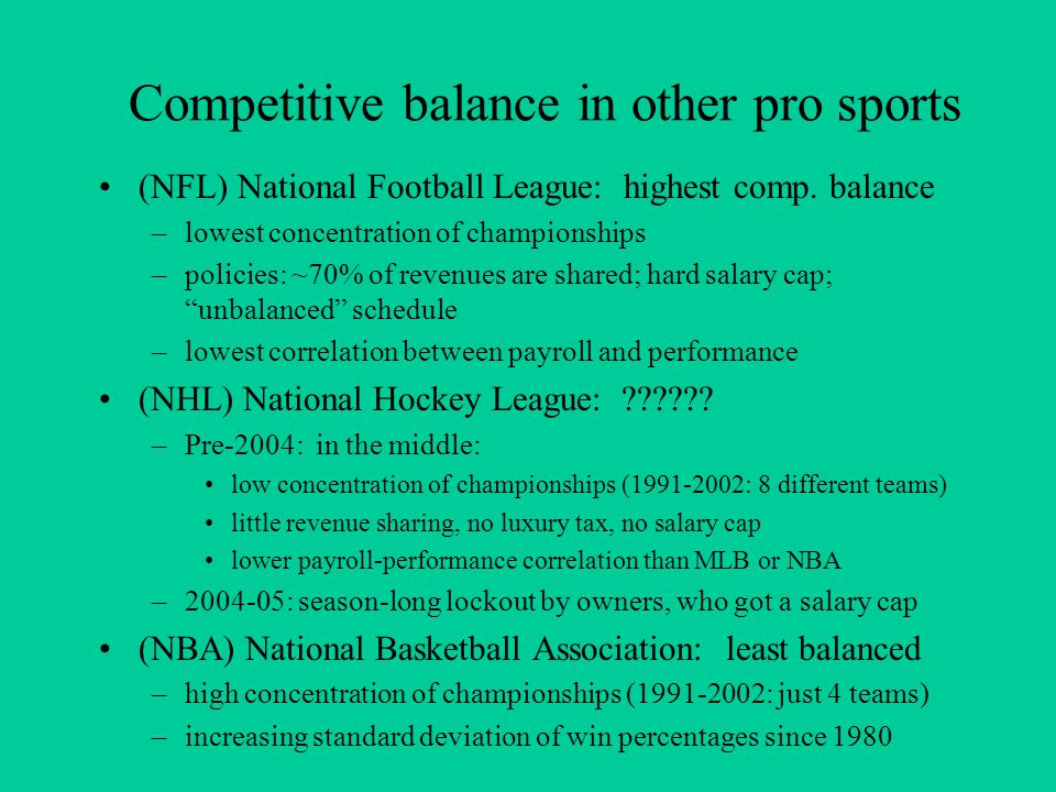 Competitive balance in other pro sports (NFL) National Football League: highest comp.
