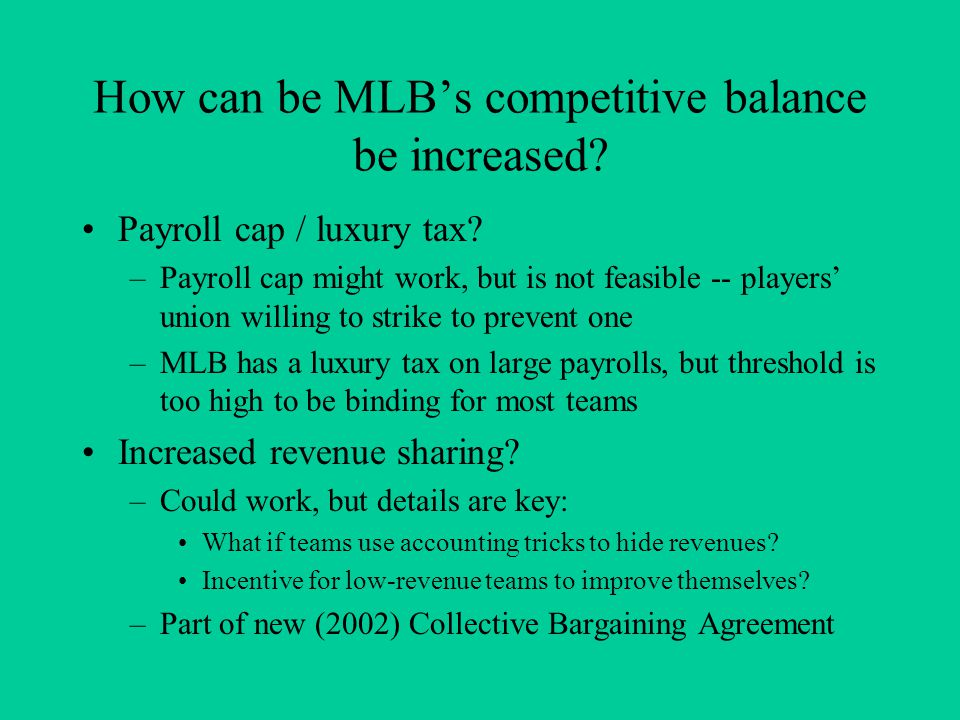 How can be MLB's competitive balance be increased.