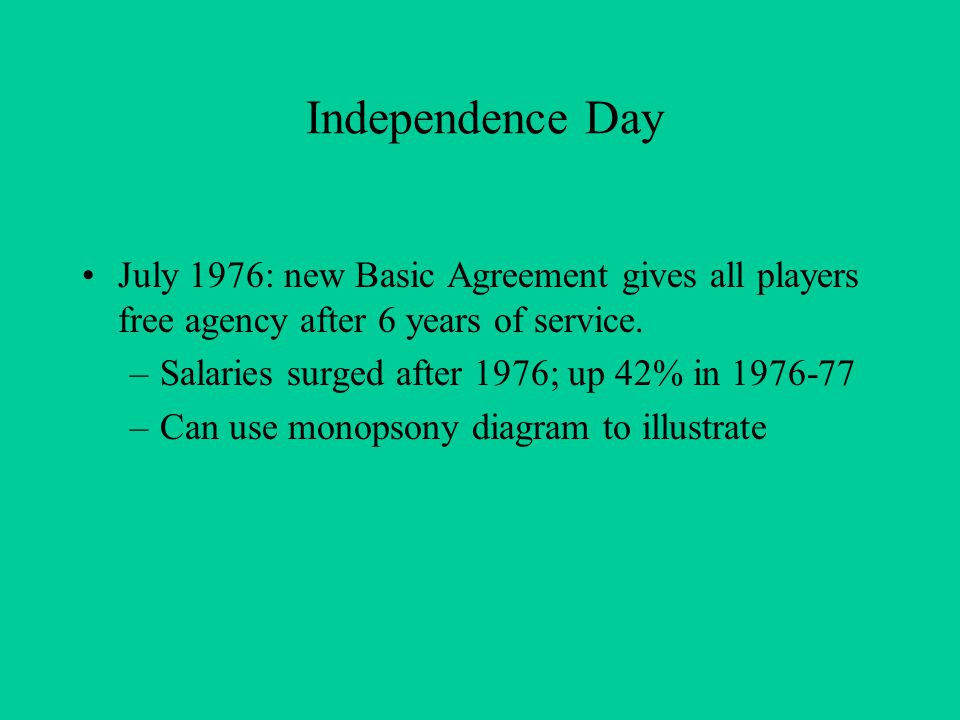 Independence Day July 1976: new Basic Agreement gives all players free agency after 6 years of service. –Salaries surged after 1976; up 42% in 1976-77