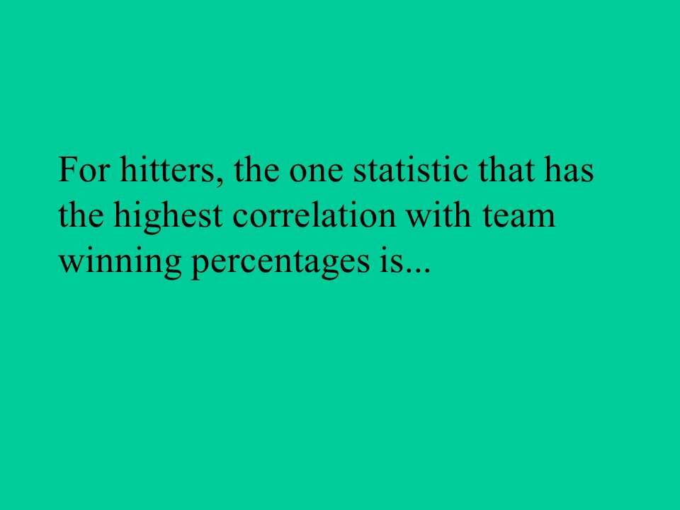For hitters, the one statistic that has the highest correlation with team winning percentages is...