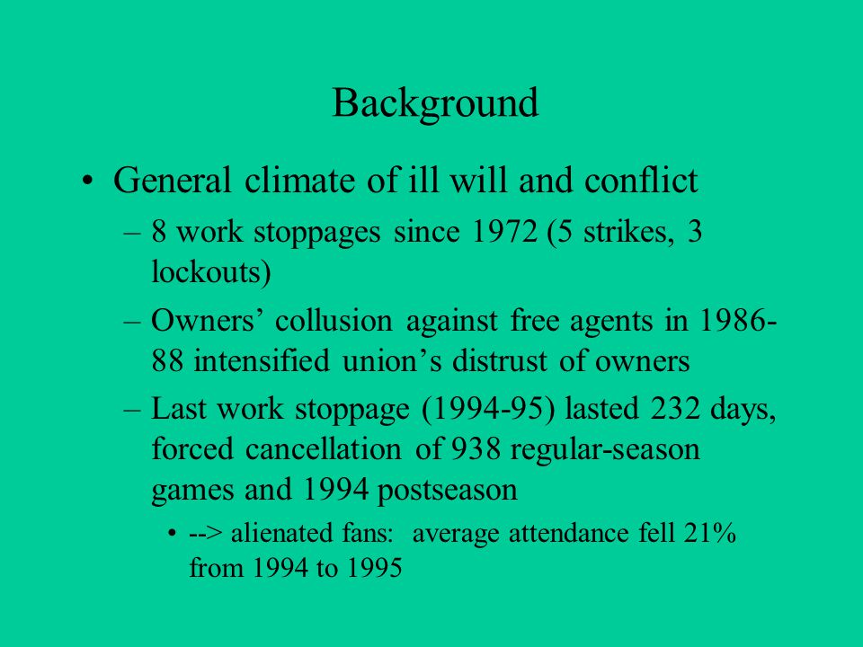 Background General climate of ill will and conflict –8 work stoppages since 1972 (5 strikes, 3 lockouts) –Owners' collusion against free agents in 1986- 88 intensified union's distrust of owners –Last work stoppage (1994-95) lasted 232 days, forced cancellation of 938 regular-season games and 1994 postseason --> alienated fans: average attendance fell 21% from 1994 to 1995